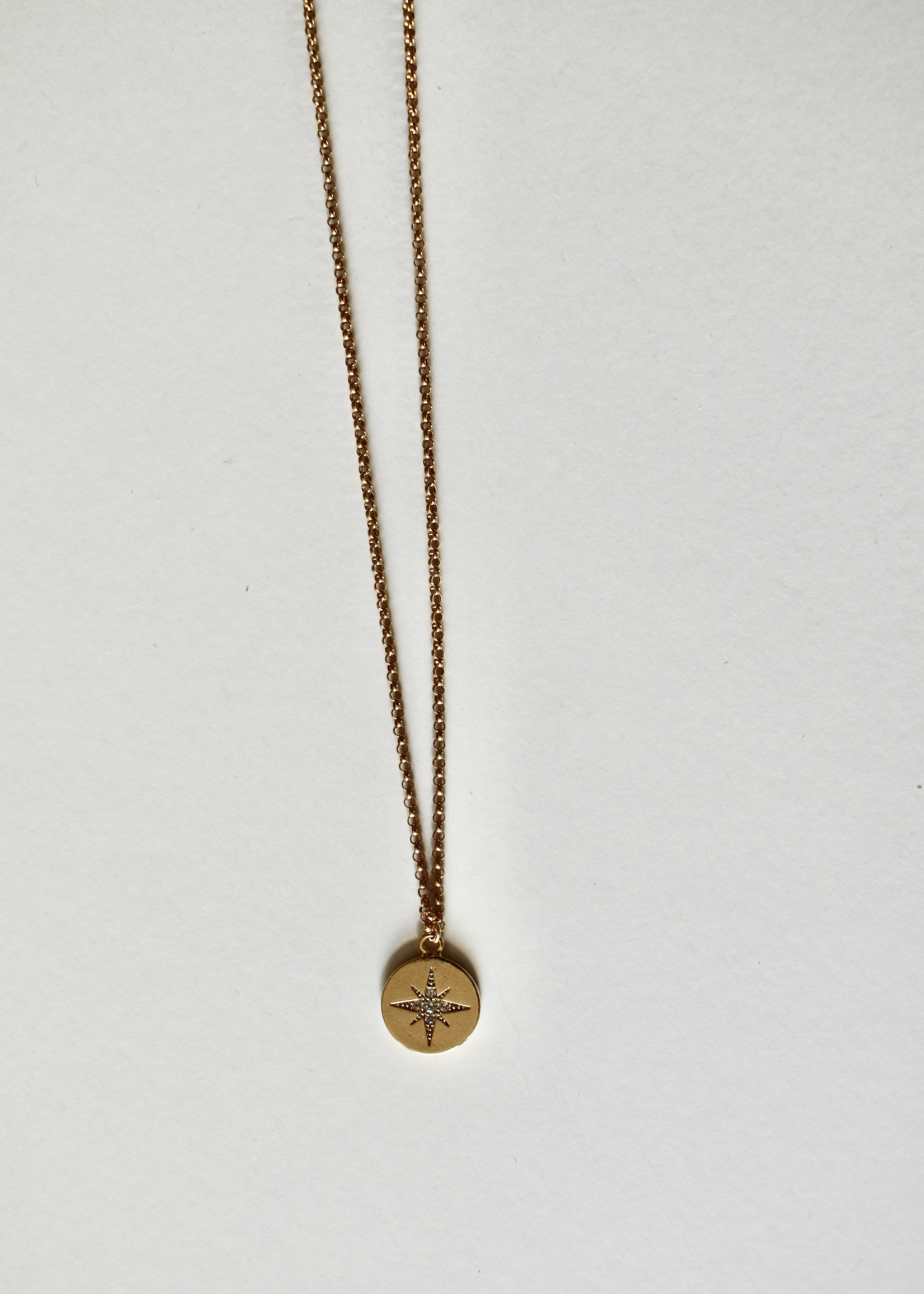 Admiral Row gold coin pave star necklace