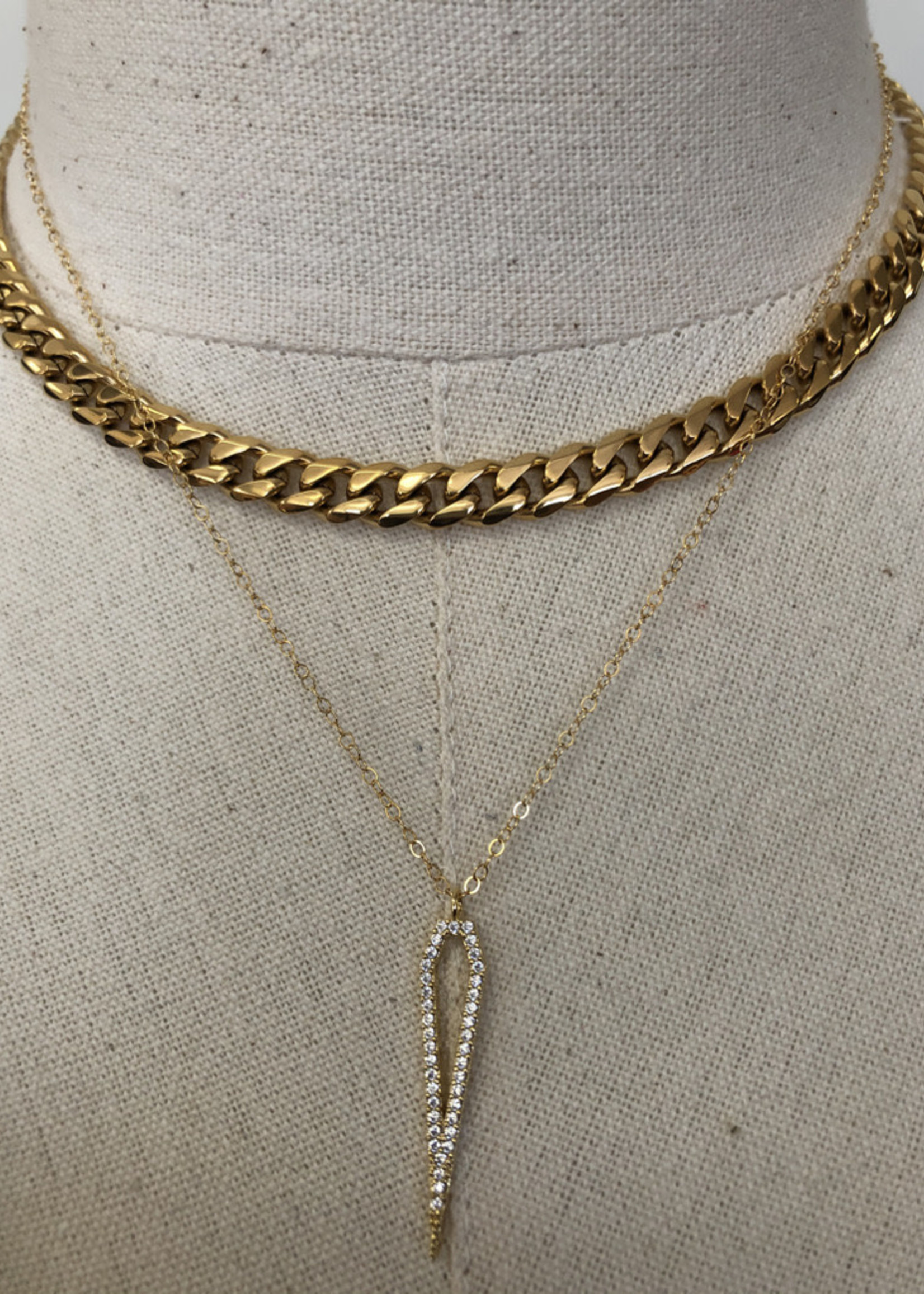 Admiral Row gold pave stone pentagon necklace
