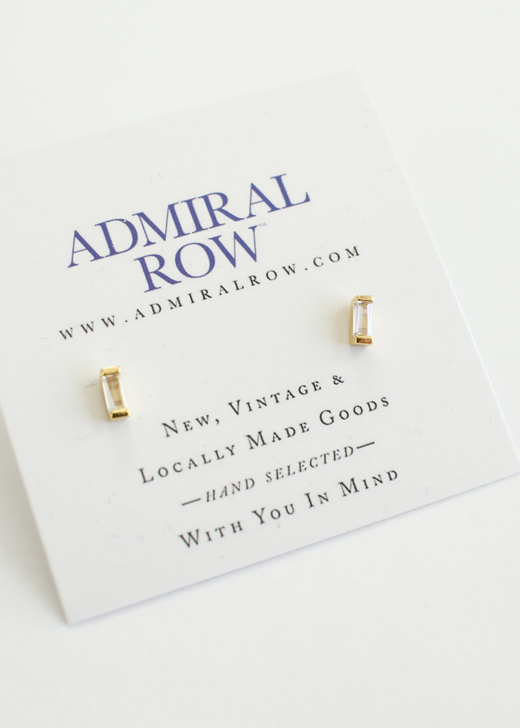 Admiral Row mini baguette gold studs