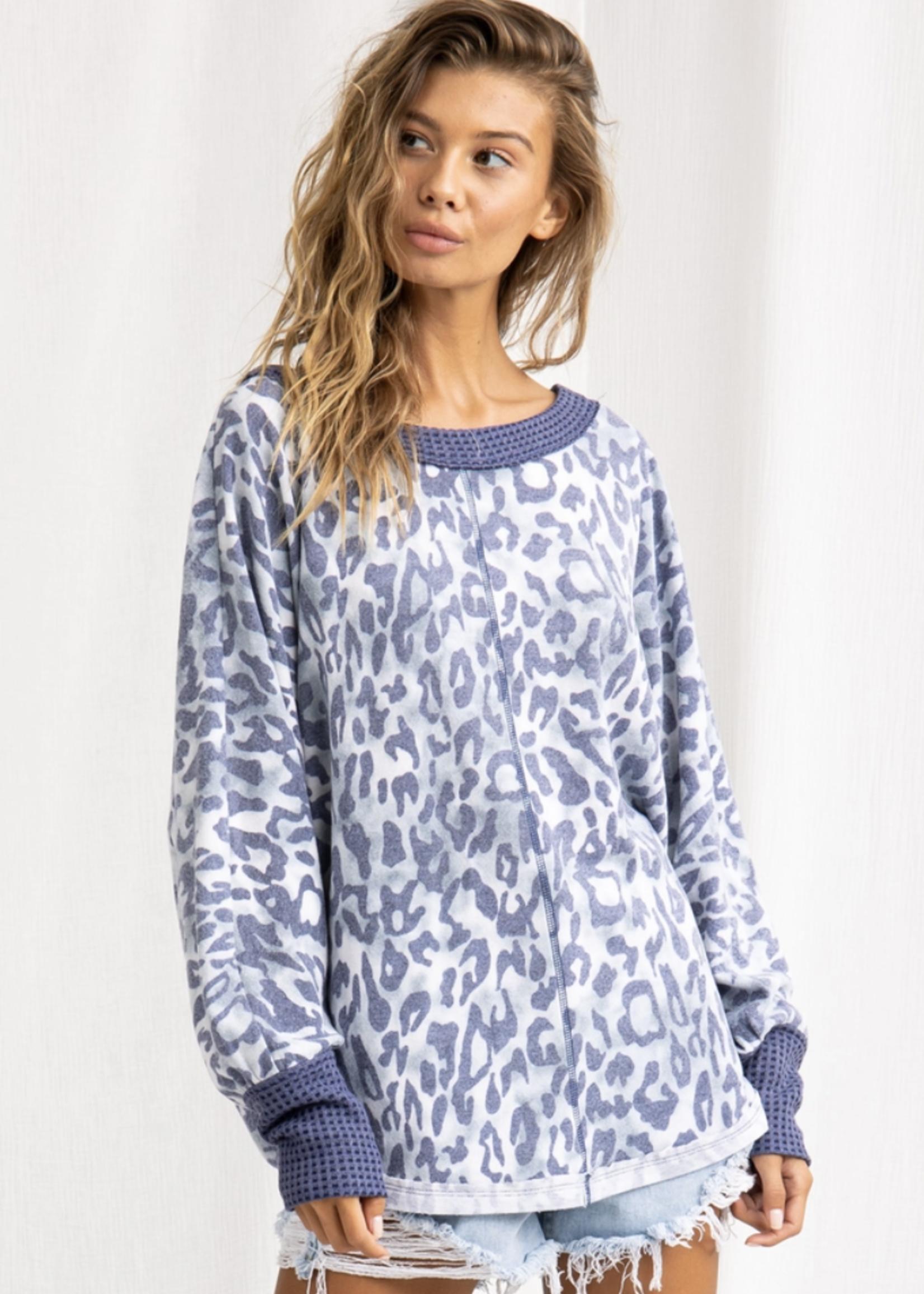 Ces Femme Leopard Print Boat Neck Tunic