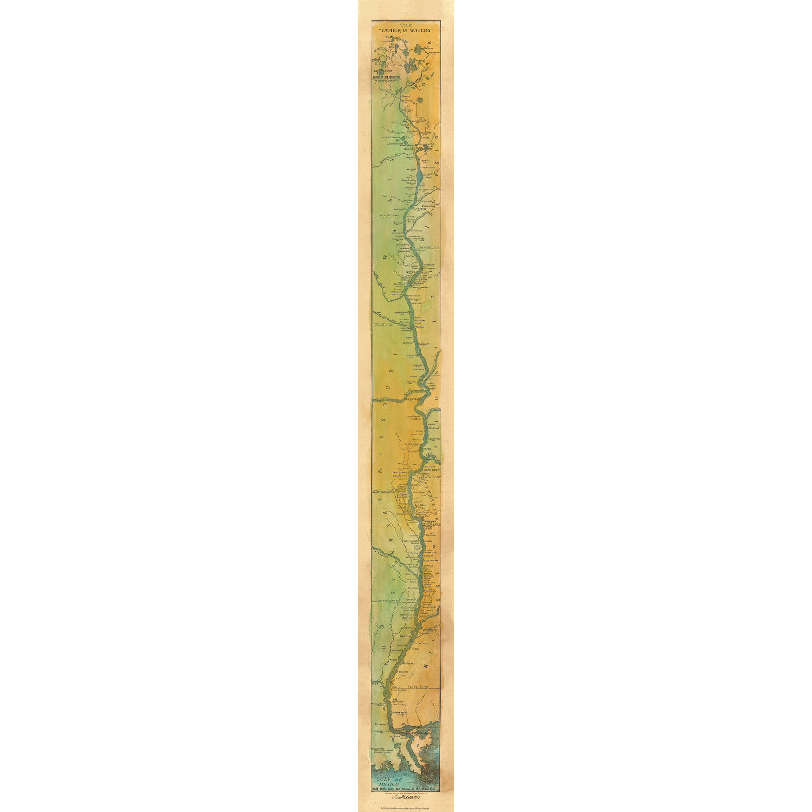 Great River Arts Father of the Waters Mississippi River Map