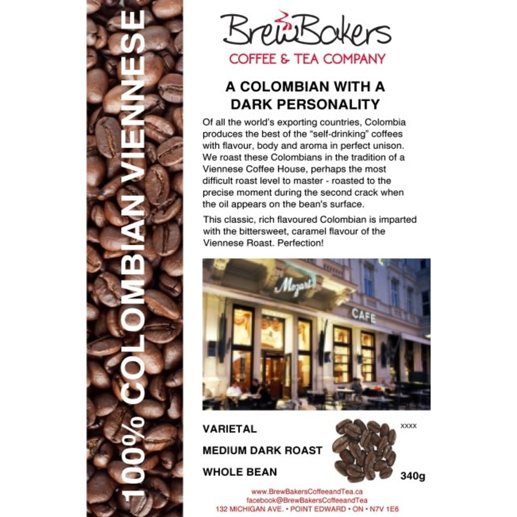 BrewBakers Coffee Bean Colombian Viennese 340g
