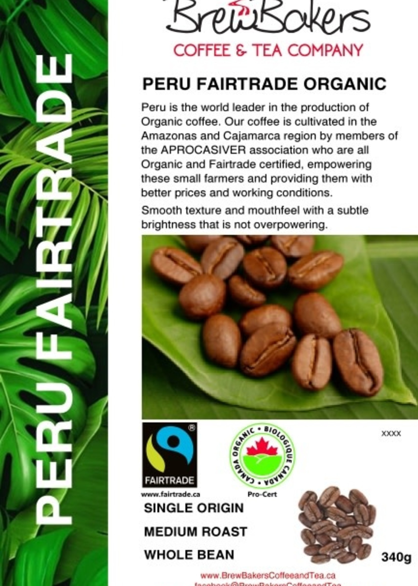 BrewBakers Coffee Bean Peru FTO 340g