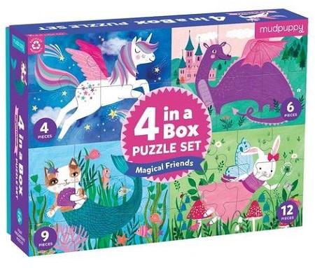 Mudpuppy mudpuppy 4-in-a-box puzzles set - Magical Friends