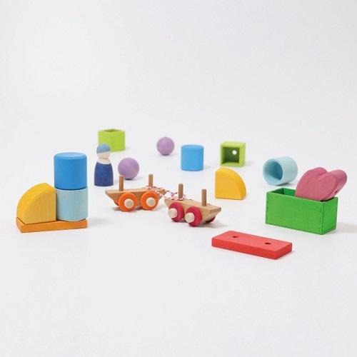 Grimm's Wooden Train Building Set (17 pieces) 3+