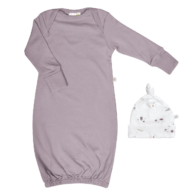 Perlimpinpin Perlimpinpin 'My Little Cozy Nest' Bamboo Nightgown & Knotted Hat (newborn)
