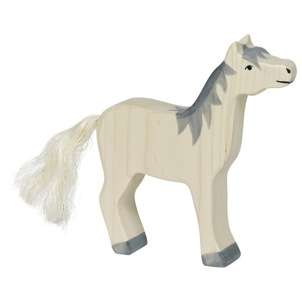 Holztiger Holztiger Horse, Head Raised, Grey Mane 80360