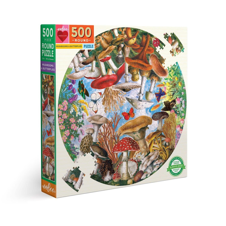 eeboo Mushrooms & Butterflies (500 pc round puzzle)