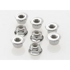 3647 Nuts, 4mm flanged nylon locking (steel, serrated) (8)