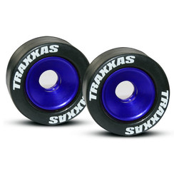 5186aWheels, aluminum (blue-anodized) (2)/ 5x8mm ball bearings (4)/ axles (2)/ rubber tires (2)