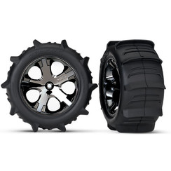 3776 Tires & wheels, assembled, glued (2.8') (All-Star black chrome wheels, paddle tires, foam inserts) (2WD electric rear) (2) (TSM rated)