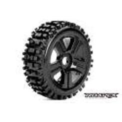 ROPR5002-B Rhythm 1/8 Buggy Tires, Mounted on Black Wheels, 17mm Hex (1 pair)