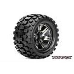ROPR3003-CB0 Rythm 1/10 Monster Truck Tires, Mounted on Chrome Black Wheels, 0 Offset, 12mm Hex (1 pair)