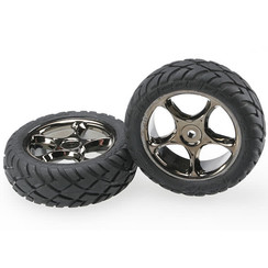 2479a Tires & wheels, assembled (Tracer 2.2' black chrome wheels, Anaconda? 2.2' tires with foam inserts) (2) (Bandit front)