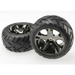 3773a Tires & wheels, assembled, glued (All Star black chrome wheels, Anaconda? tires, foam inserts) (2WD electric rear) (1 left, 1 right)
