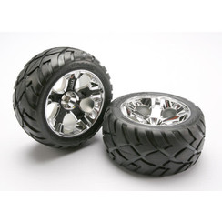 5576r Tires & wheels, assembled, glued (All-Star chrome wheels, Anaconda? tires, foam inserts) (nitro rear/ electric front) (1 left, 1 right)