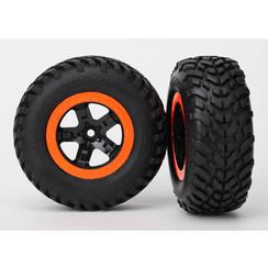 5864 Tire & wheel assy, glued (SCT black, orange beadlock wheels, SCT off-road racing tires, foam inserts) (2) (2WD front)