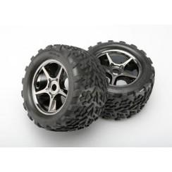 5374x Tires & wheels, assembled, glued (Gemini black chrome wheels, Talon tires, foam inserts) (2) (use with 17mm splined wheel hubs & nuts, part #5353X) (TSM rated)