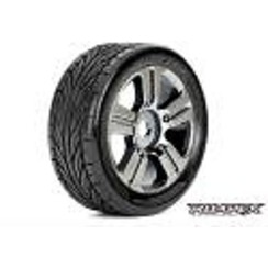 ROPR5001-CBTrigger 1/8 Buggy Tires, Mounted on Chrome Black Wheels, 17mm Hex (1 pair)
