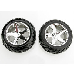 3773 Tires & wheels, assembled, glued (All Star chrome wheels, Anaconda? tires, foam inserts) (2WD electric rear) (1 left, 1 right)