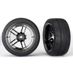 8374 - Tires and wheels, assembled, glued (split-spoke black chrome wheels, 1.9' Response tires) (extra wide, rear) (2)