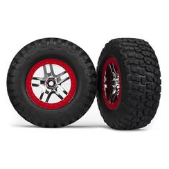 5877A Tires & wheels, assembled, glued (SCT Split-Spoke, chrome red beadlock style wheels, BFGoodrich? Mud-Terrain?  T/A? KM2 tires, foam inserts) (2) (2WD front)