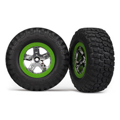 6876 - Tires & wheels, assembled, glued (SCT, chrome, green beadlock wheel, BFGoodrich® Mud-Terrain™ T/A® KM2 tire, foam inserts) (2) (4WD front/rear, 2WD rear only)