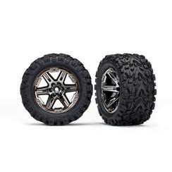 6774X - Tires & wheels, assembled, glued (2.8') (RXT black chrome wheels, Talon Extreme tires, foam inserts) (2WD electric rear) (2) (TSM rated)
