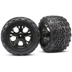 3669A - Tires & wheels, assembled, glued (2.8') (All-Star black chrome wheels, Talon tires, foam inserts) (nitro rear/ electric front) (2) (TSM rated)