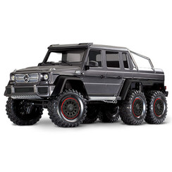 88096-4 - TRX-6™ Scale and Trail™ SILVER Crawler with Mercedes-Benz® G 63® AMG Body: 1/10 Scale 6X6 Electric Trail Truck. Ready-to-Drive® with TQi Traxxas Link™ Enabled 2.4GHz Radio System, XL-5 HV ESC (fwd/rev), and Titan® 550 motor.