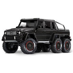 88096-4 - TRX-6™ Scale and Trail™ BLACKCrawler with Mercedes-Benz® G 63® AMG Body: 1/10 Scale 6X6 Electric Trail Truck. Ready-to-Drive® with TQi Traxxas Link™ Enabled 2.4GHz Radio System, XL-5 HV ESC (fwd/rev), and Titan® 550 motor.
