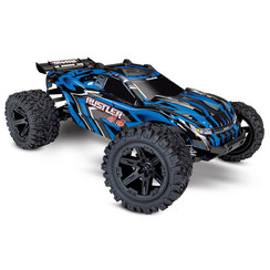 67064-1 - Rustler® 4X4: 1/10-scale 4WD StadiumTruck. Ready-To-Race® with TQ 2.4GHz radio system and XL-5 ESC (fwd/rev). Includes: 7-Cell NiMH 3000mAh Traxxas® battery with DC charger
