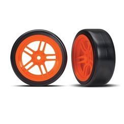 8376A - Tires and wheels, assembled, glued (split-spoke orange wheels, 1.9' Drift tires) (front)
