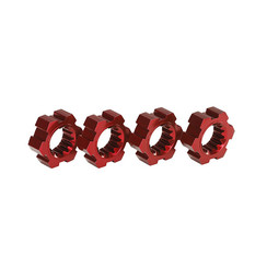 7756R - Wheel hubs, hex, aluminum (red-anodized) (4)