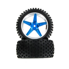06026PB Pre-Mounted 1/10th Buggy Rear Tires and Wheels (Blue/Chrome)(1pr)