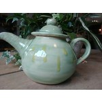 Cathy Lombard Pottery Green with Yellow Drips Tea Pot