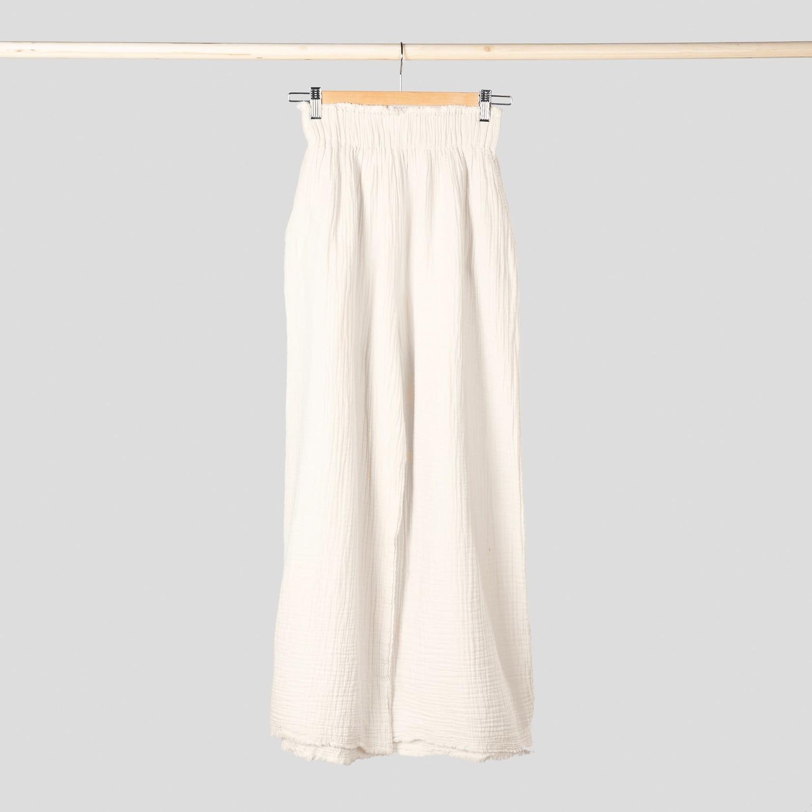 Pokoloko Crinkle Loose Pants Oversized Cream
