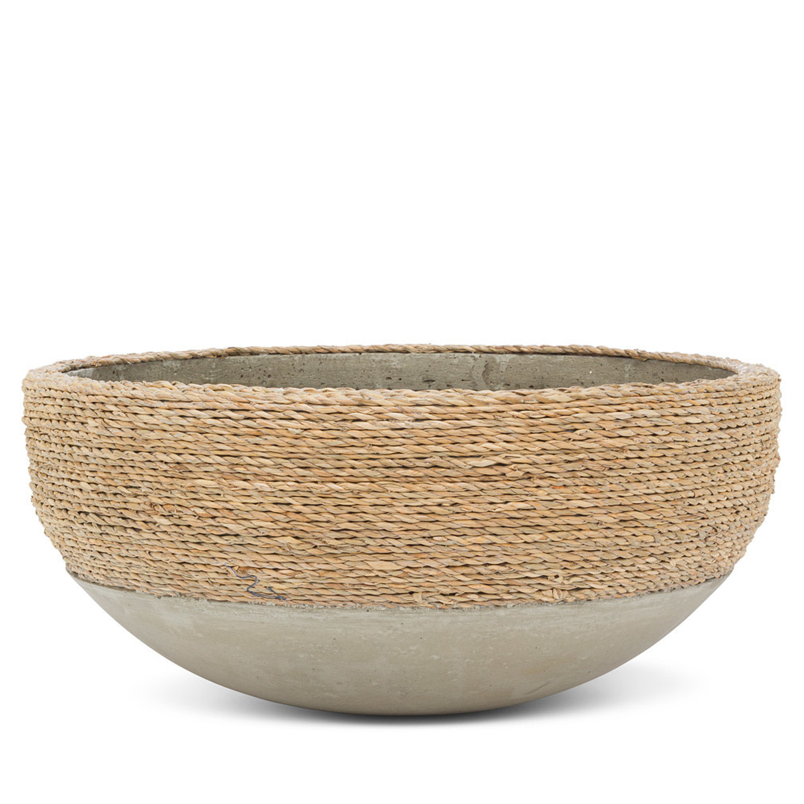 Abbott Low 1/2 Seagrass Covered Planter