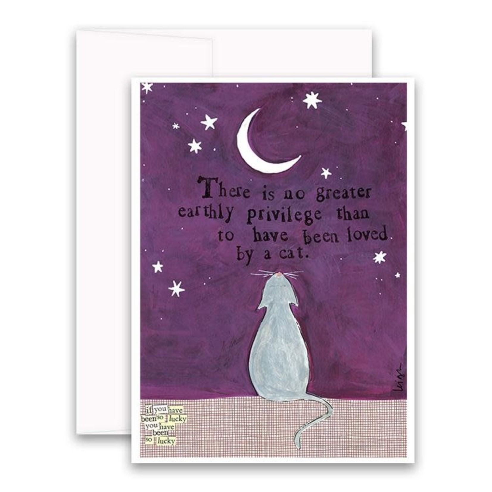 Curly Girl Design Loved by a Cat card