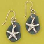 Basic Spirit Starfish Earrings with seaglass