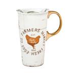 Cypress Home Ceramic Travel Cup w/box and Triton Lid, 17 OZ., Farmers Market