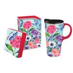 Cypress Home Ceramic Travel Cup, 17 oz., w/box, Through the Garden Gate