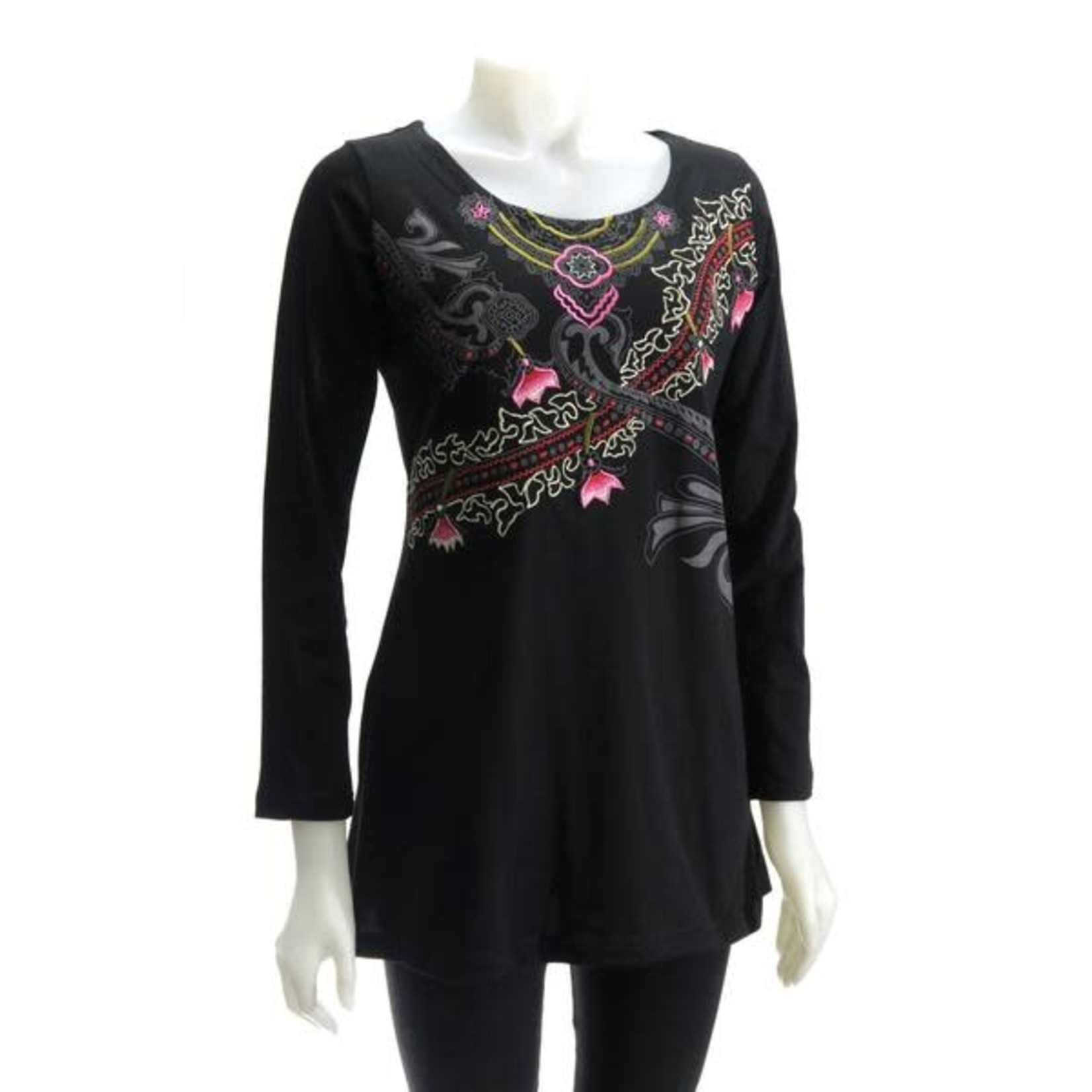 LEOPARDS AND ROSES RJ-T20159-BK PRINTED TUNIC