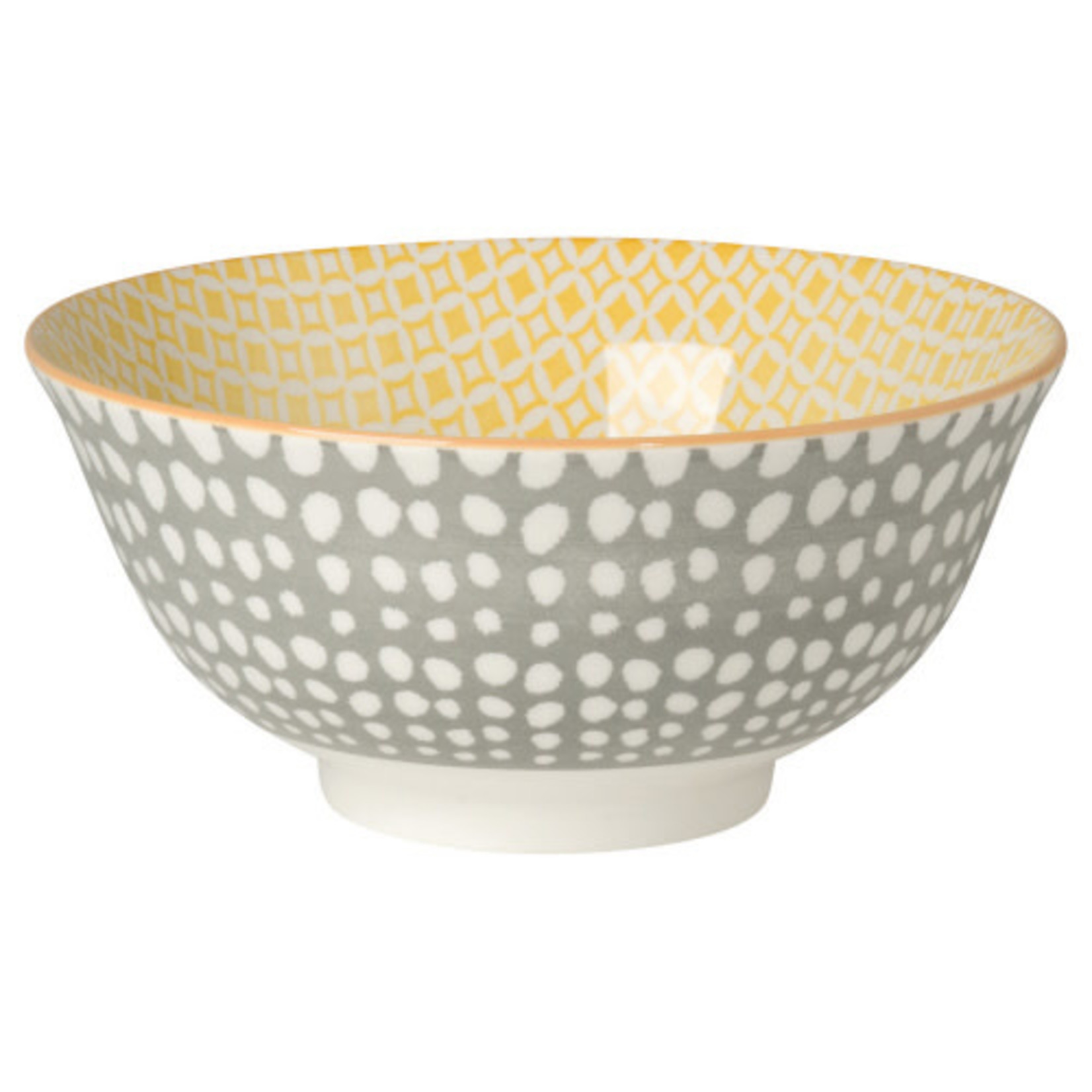 Danica Gray Dots/Yellow Bowl