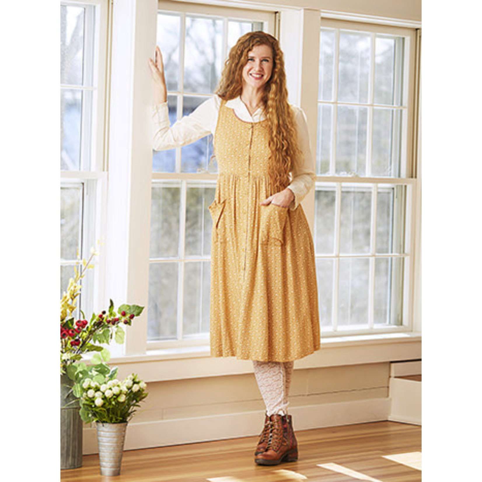 April Cornell Fall Forget Me Not Pinafore Dress