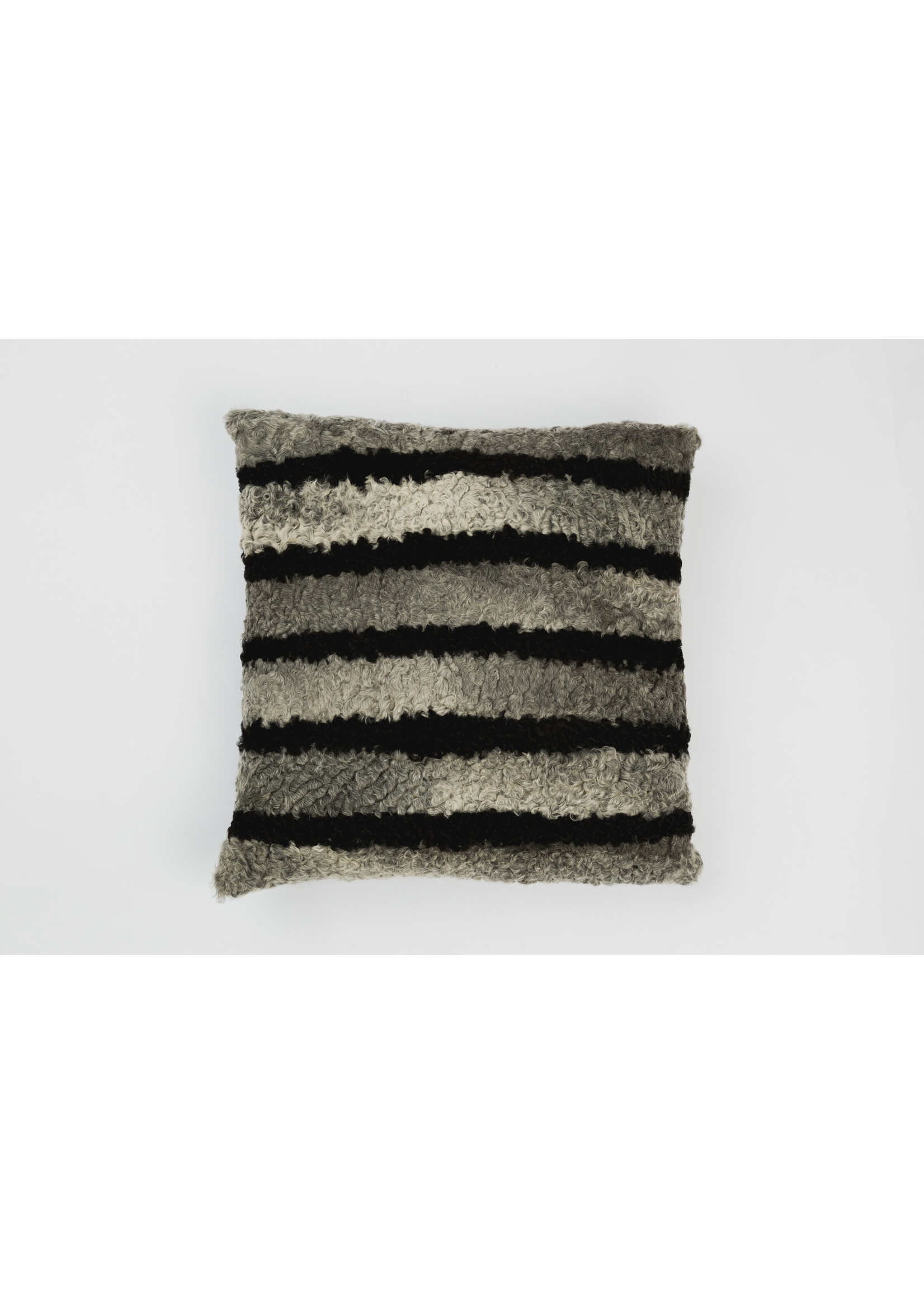 "FURTHER UPCYCLED STRIPED FUR PILLOW 18""x18"""