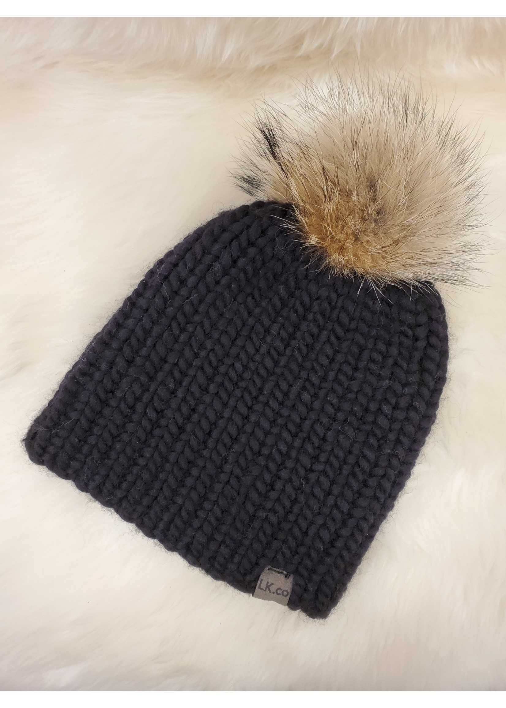 LITTLE KNITS HAND-KNIT BEANIE WITH  COYOTE