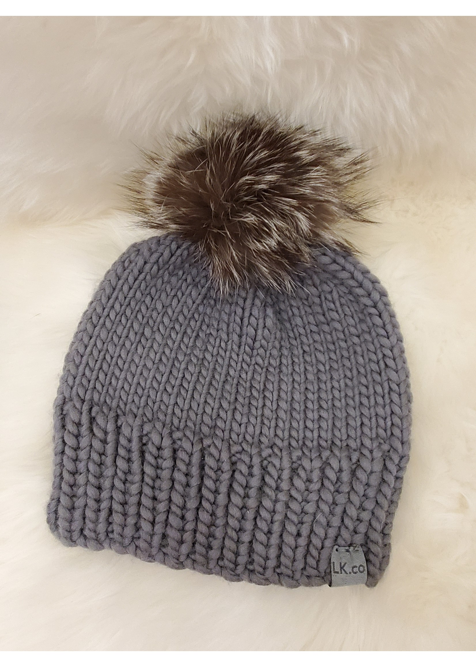 LITTLE KNITS HAND-KNIT BEANIE WITH  SILVER FOX