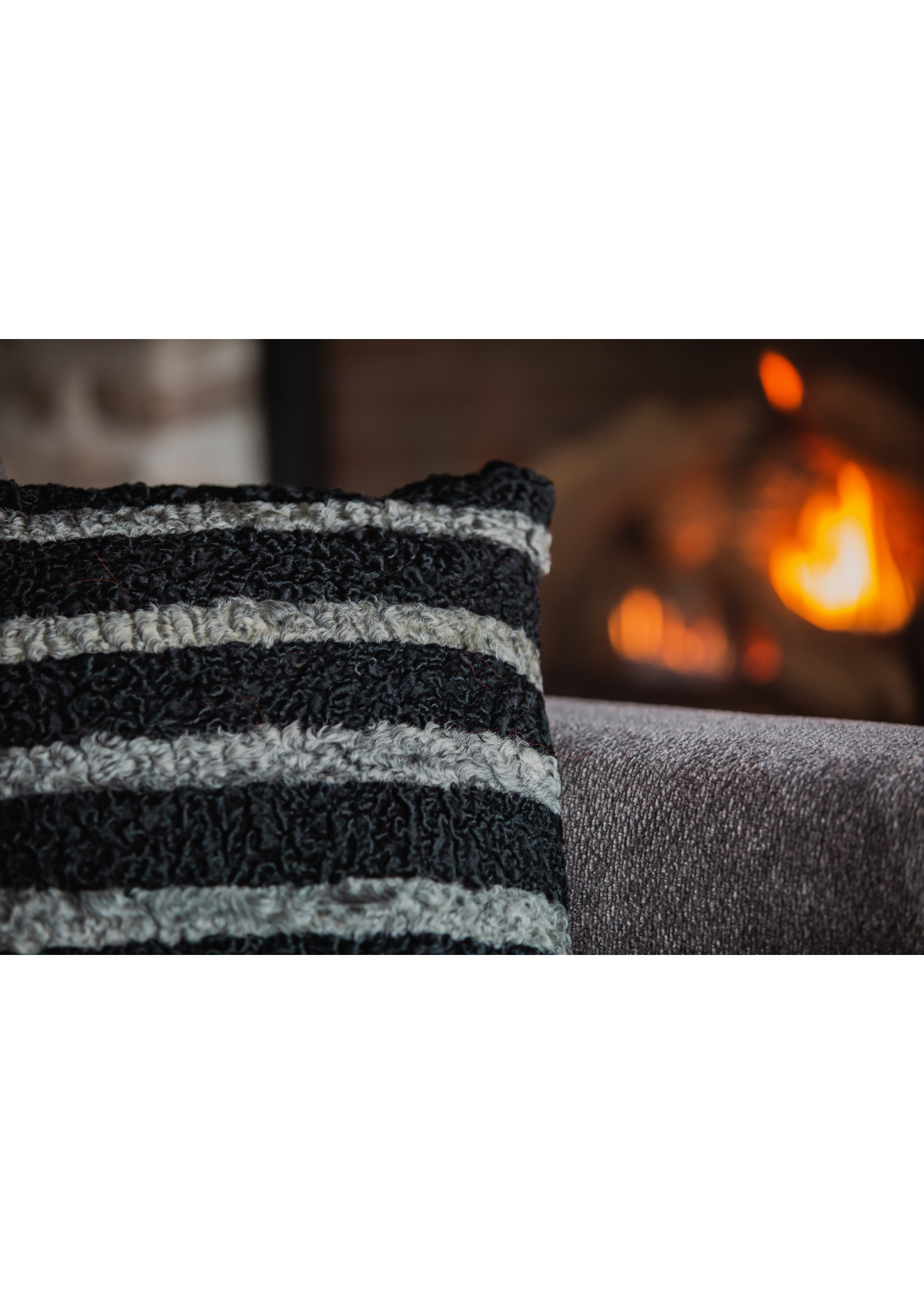 """FURTHER UPCYCLED STRIPED FUR PILLOW 18""""x18"""""""