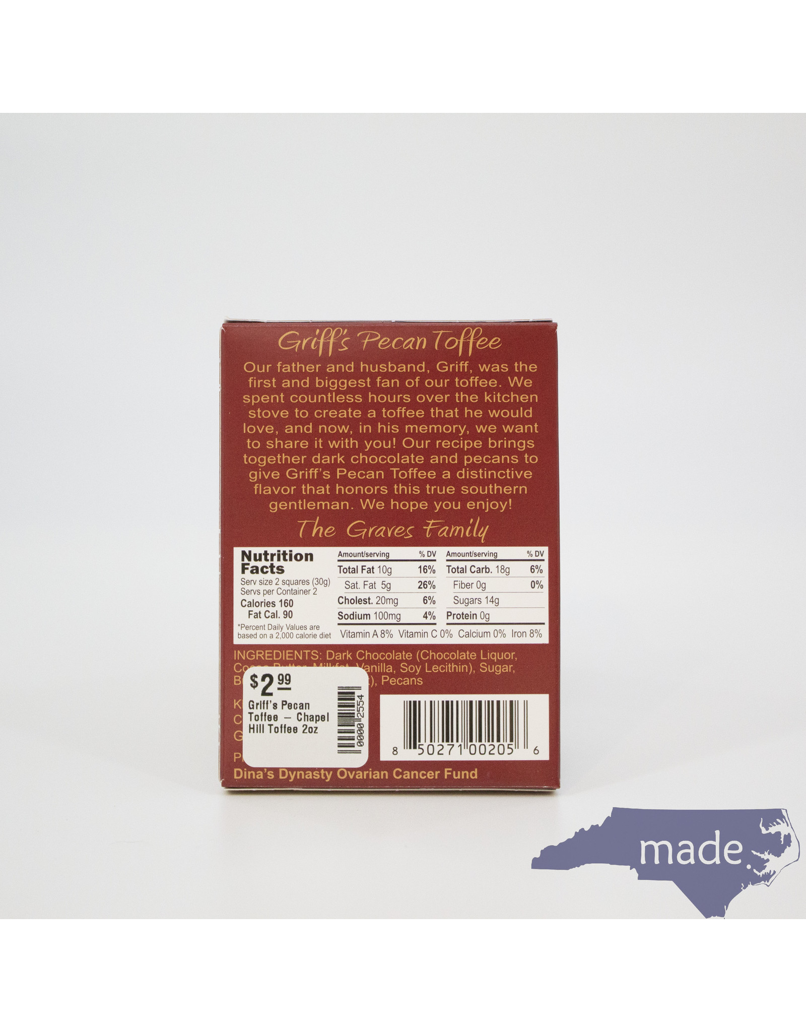 Chapel Hill Toffee Griff's Pecan Toffee 2 oz. - Chapel Hill Toffee